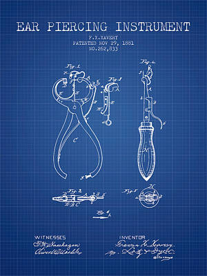 Ear Piercing Instrument Patent From 1881 - Blueprint Art Print