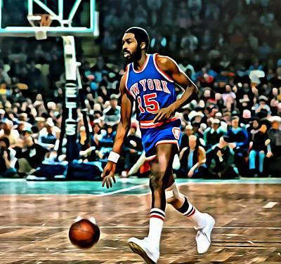 Knicks Painting - Earl Monroe by Florian Rodarte