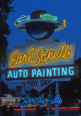 Earl Scheib Neon Bev Hills-1 Art Print by Barbara Filet