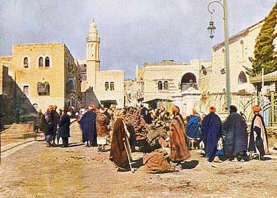 Donkey Digital Art - Early 19th Century Bethlehem Market by Munir Alawi