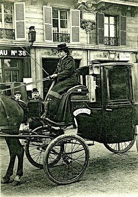 Horse And Carriage Wall Art - Photograph - Early 20th Century Female Cab Driver by Collection Abecasis/science Photo Library