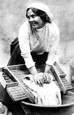 Hand Washing Photograph - Early 20th Century Washerwoman by Collection Abecasis
