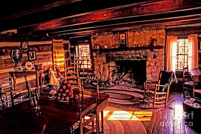 Log Cabin Interiors Photograph - Early American Livingroom by Paul W Faust -  Impressions of Light