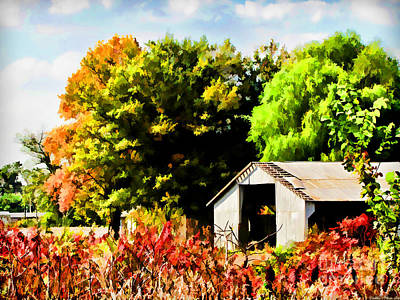 Photograph - Early Autumn Tractor Shed  Digital Paint by Debbie Portwood