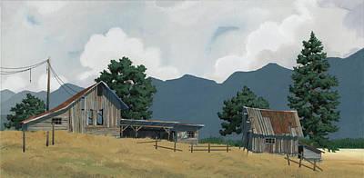 Painting - Early Bigfork Farmstead by John Wyckoff