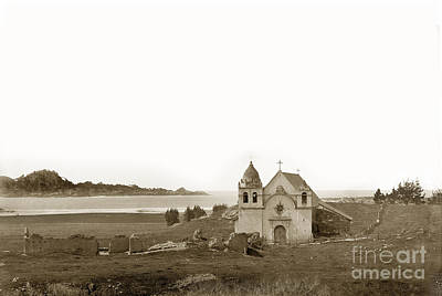 Studio Grafika Vintage Posters - Early Carmel Mission and Point Lobos California circa 1884 by California Views Archives Mr Pat Hathaway Archives