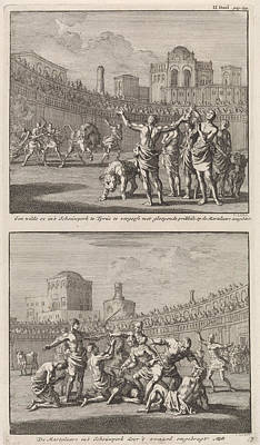 Early Christian Martyrs In A Roman Arena And Early Art Print by Jan Luyken And Jacobus Van Hardenberg And Barent Visscher