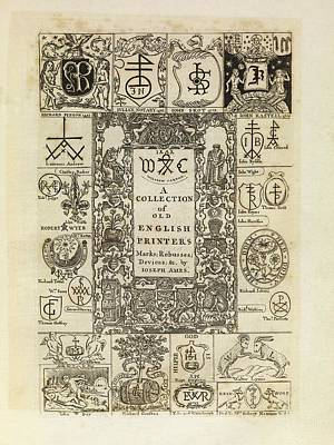 Book Mark Photograph - Early English Printers by Middle Temple Library
