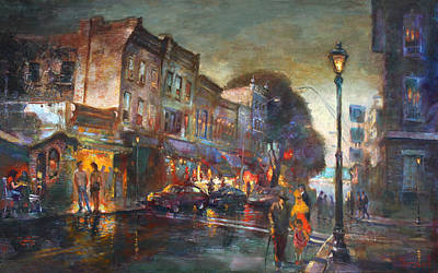 Starbucks Coffee Painting - Early Evening In Main Street Nyack by Ylli Haruni