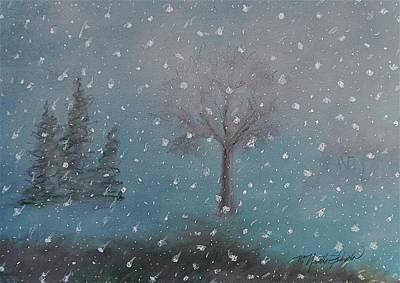 Snowscape Mixed Media - Early Evening Snow Fall by R Neville Johnston