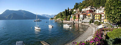 Como Photograph - Early Evening View Of Waterfront by Panoramic Images