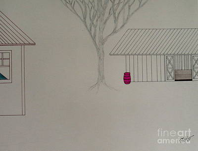 Red Barns Drawing - Early Farm Morning by Bill OConnor