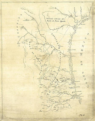 Mess Photograph - Early Hand-drawn Southern Texas Map C. 1795 by Daniel Hagerman
