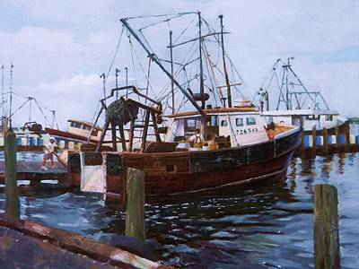 Art Print featuring the painting Early Harbor Morning by Noe Peralez