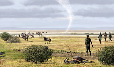 Bison Photograph - Early Humans by Mauricio Anton