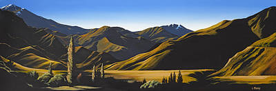 Aotearoa Painting - New Zealand Lindis Pass By Linelle Stacey by Linelle Stacey