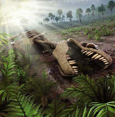 Impact Photograph - Early Mammals Hiding In T-rex Carcass by Mark Garlick