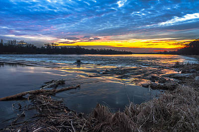 Early March Sunset Over Narew River In Poland Art Print