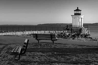 Photograph - Early Morning At Bug Lighthouse Bw by Susan Candelario