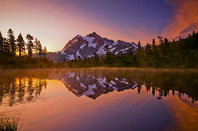 Sunrise Photograph - Early Morning At Picture Lake by Darren  White