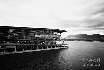 early morning at the Vancouver convention centre west building on burrard inlet BC Canada Print by Joe Fox