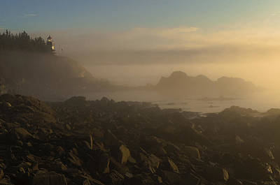 West Quoddy Head Lighthouse Photograph - Early Morning Fog At Quoddy by Marty Saccone