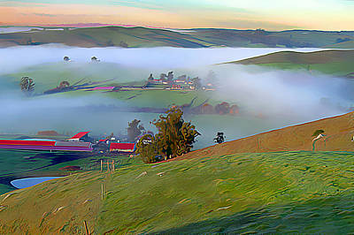 Marin County Digital Art - Early Morning Fog Over Two Rock Valley by Wernher Krutein
