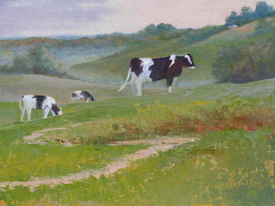 Painting - Early Morning Holsteins by Judy Fischer Walton