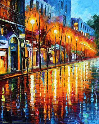 Early Morning In Paris - Palette Knife Oil Painting On Canvas By Leonid Afremov Original by Leonid Afremov