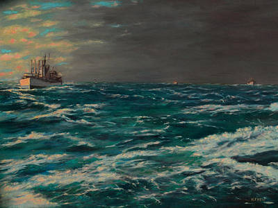 Painting - Early Morning North Atlantic Convoy Ww II by William Frew