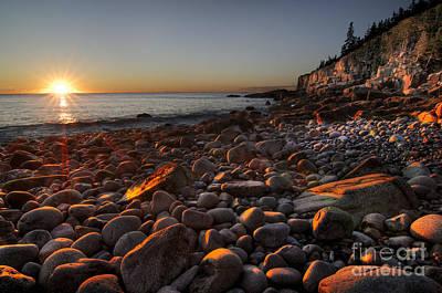 Sunrise Photograph - Early Morning On A Stone Beach by Oscar Gutierrez