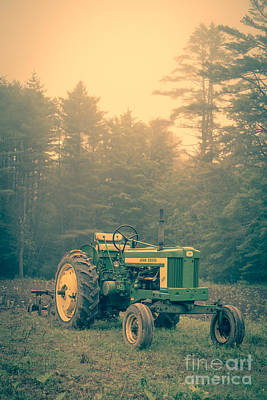Early Morning Tractor In Farm Field Art Print