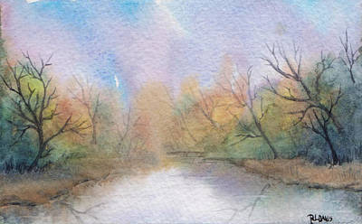 Art Print featuring the painting Early Morning Waterway by Rebecca Davis