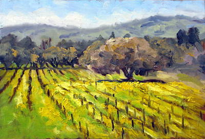 Early Spring Painting - Early Mustard In The Vineyards by Char Wood