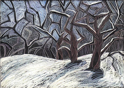 Trees In Snow Drawing - Early Snow by Grace Keown
