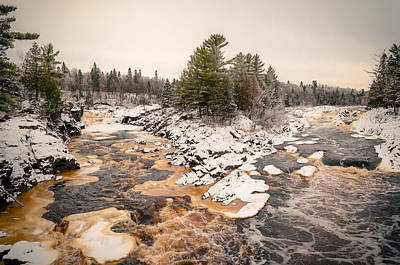 Photograph - Early Snowfall On The Saint Louis River by Mark David Zahn Photography