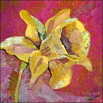 Floral Wall Art - Mixed Media - Early Spring I Daffodil Series by Shadia Derbyshire