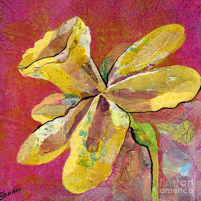 Pink And Yellow Painting - Early Spring II Daffodil Series by Shadia Derbyshire