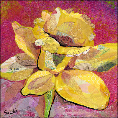 Pink And Yellow Painting - Early Spring IIi  Daffodil Series by Shadia Derbyshire
