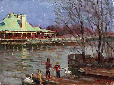 Swans Painting - Early Spring In Portcredit Mississauga by Ylli Haruni