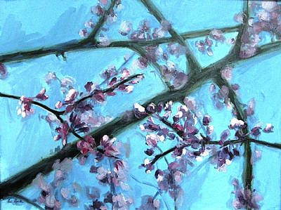 Painting - Early Spring Redbud by Erin Rickelton