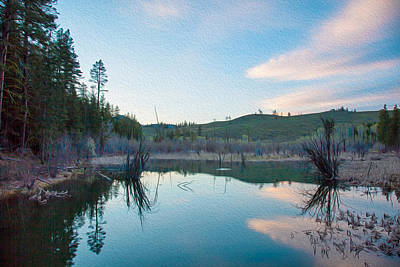 Twisp Painting - Early Sunset On A Beaver Pond  by Omaste Witkowski