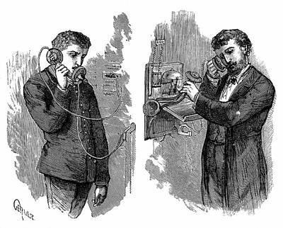 Early Telephone Users Art Print by Universal History Archive/uig