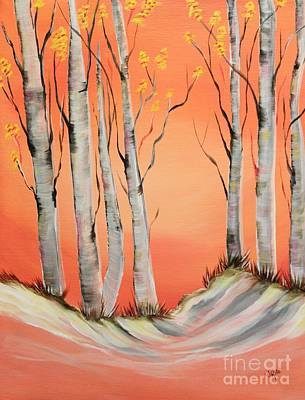 Winter Scene Painting - Early Winter Aspen by Janice Rae Pariza