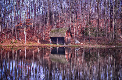 Early Winter At The Boat House Art Print by Daphne Sampson