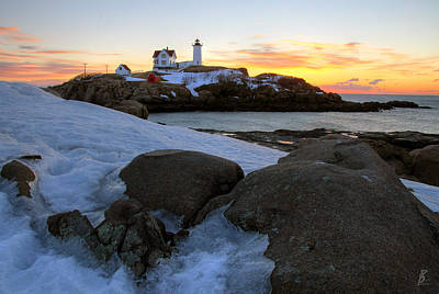 Early Winter Morning At Cape Neddick Lighthouse Art Print by Brett Pelletier