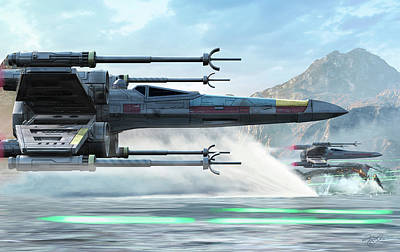Science Fiction Royalty-Free and Rights-Managed Images - Early X-wing Model Cruising Over A Lake by Kurt Miller