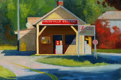 Landscape Oil Painting - Earlysville Virginia Old Service Station Nostalgia by Catherine Twomey