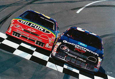 Dale Earnhardt Painting - Earnhardt And Gordon by Robert Tracy