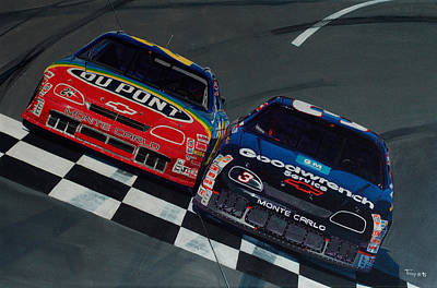 Dale Earnhardt Painting - Earnhardt By Inches by Robert Tracy